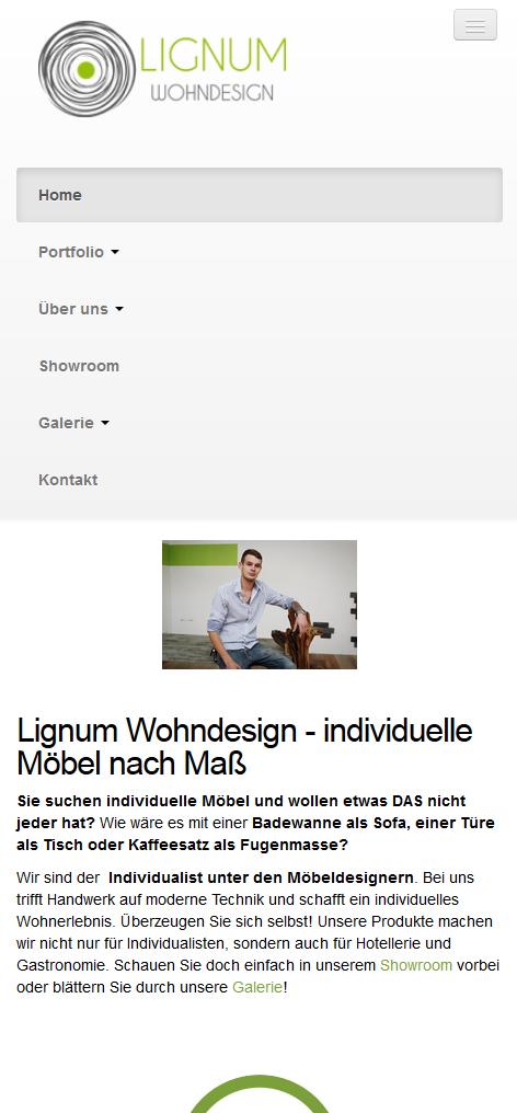 Smartphone-Ansicht lignum-wohndesign.at