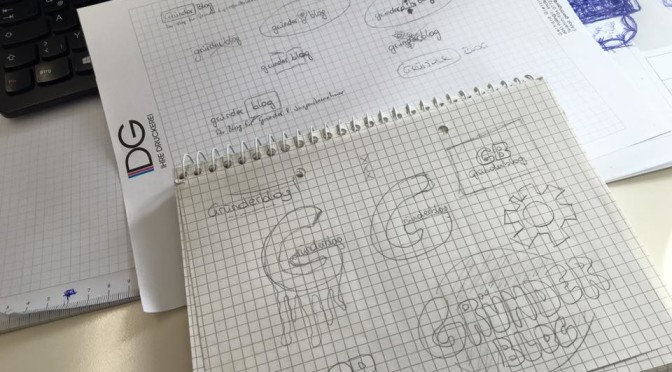 Kritzeleien zum Logo bevor es am Illustrator erstellt wird