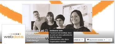 Verifizierung einer Seite mit grauem Haken am Beispiel von webdots