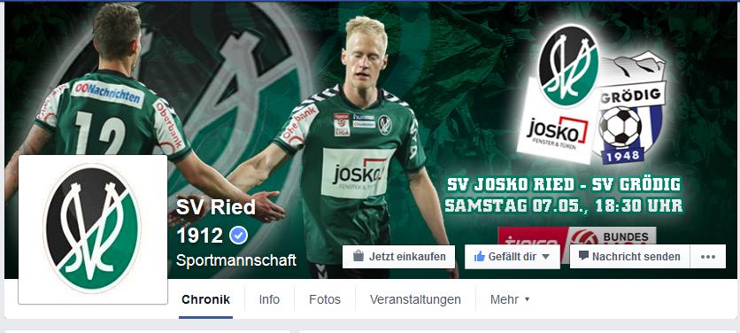 blauer Haken der Verifizierung bei Facebook FanPage des SV Ried