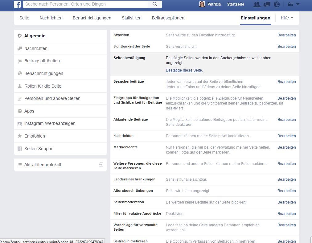 Schritt 2 bei der Verifizierung von Facebook FanPages mit dem grauen Haken