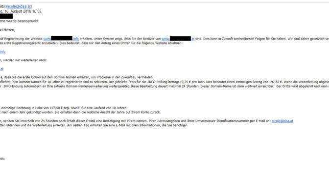 Internet Domain Services Austria – Vorsicht! Irreführende Mails im Umlauf!