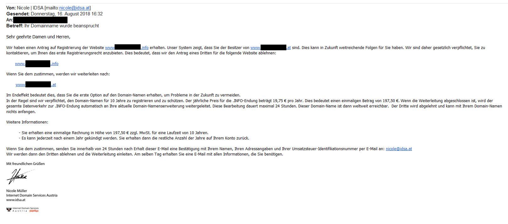 dubiosen E-Mail von Internet Domain Services Austria