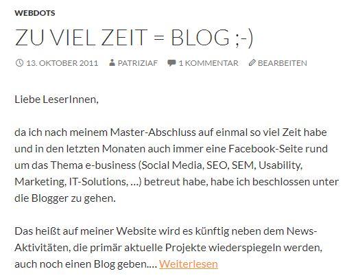 webdots Blog erster Beitrag