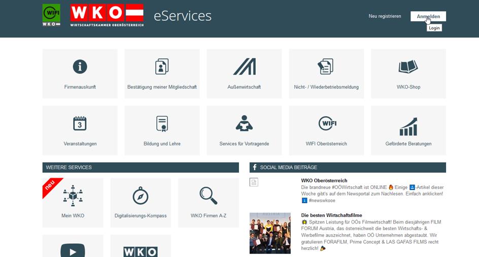e-service anmeldung