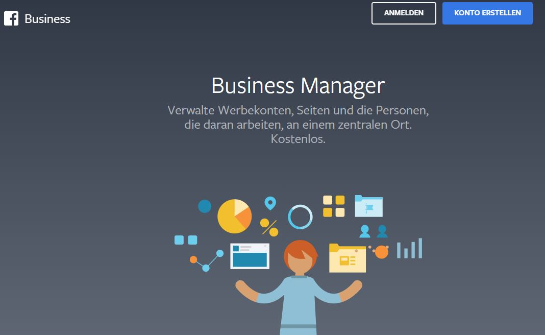 Einstieg bzw. Übersicht im Facebook Business Manager unter business.facebook.com. Dort kann ein Konto erstellt werden oder die Anmeldung zum Facebook Business Manager Account erfolgen.