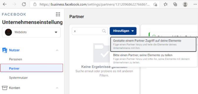 Gehe zu den Nutzer Einstellungen, hier kannst du Partnern wie etwa einer Agentur einen Zugriff auf deinen Facebook Business Manager gewähren.