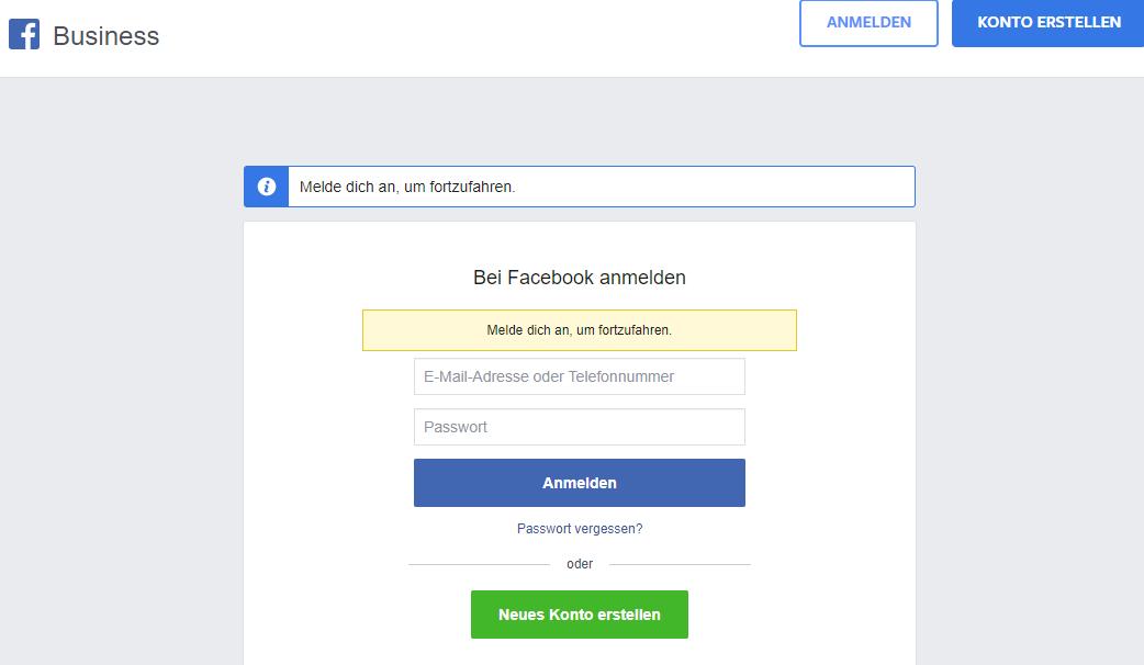Es erscheint die Facebook Business Manager Anmeldemaske. Hier kannst du die Daten deines Facebook-Kontos eingeben (Passwort und E-Mail-Adresse) oder ein neues Konto erstellen, falls du noch kein Facebook Konto besitzt.