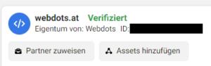Neben dem Business Manager Namen wird nun in Grün verifiziert angezeigt.