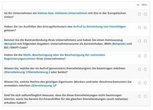 """Screenshot der Checklist mit den Eignungspunkten für die """"Bleib einzigartig"""" Förderung"""