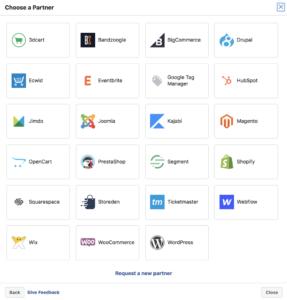 """Falls du auf """"Mit Partnerplattfom verbinden"""" geklickt hast, erscheint nun ein Fenster mit allen Tools bei welchen eine Integration des Facebook Pixel möglich ist."""