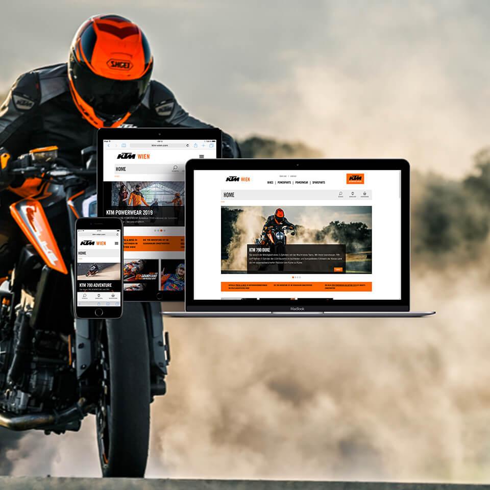 Website für KTM Flagship-Store Wien